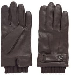 HUGO BOSS - Lamb Leather Gloves With Wool Blend Trims - Light Brown