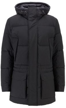 HUGO BOSS - Water Repellent Down Jacket In Cotton Blend Fabric - Black