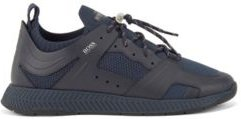 HUGO BOSS - Leather Trimmed Trainers With Reflective Knit - Dark Blue