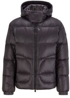 HUGO BOSS - Water Repellent Down Jacket With Logo Tape Trim - Black
