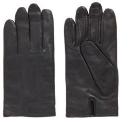HUGO BOSS - Lamb Leather Gloves With Piping And Hardware Badge - Black