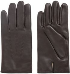 HUGO BOSS - Lamb Leather Gloves With Piping And Hardware Badge - Light Brown