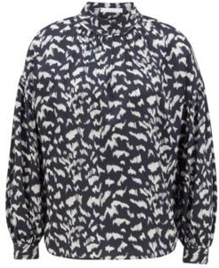 HUGO BOSS - Drop Shoulder Relaxed Fit Blouse In Printed Canvas - Patterned