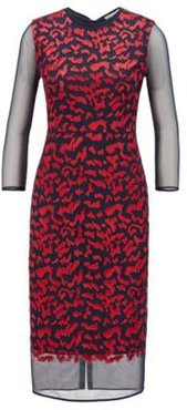 HUGO BOSS - Houndstooth Jersey Dress With Tulle Underskirt And Sleeves - Patterned