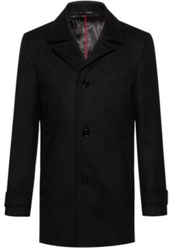 BOSS - Padded Coat In A Virgin Wool Blend With Cashmere - Black