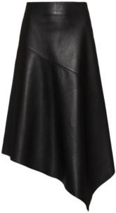 BOSS - Leather Skirt With Asymmetric Hem And Exposed Zip - Black