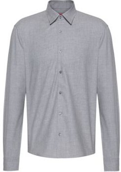 BOSS - Slim Fit Shirt In Cotton Twill Flannel - Silver