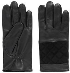HUGO BOSS - Logo Gloves In Suede And Nappa Leather - Black