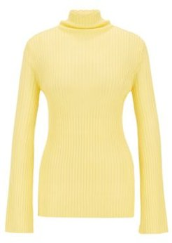 HUGO BOSS - Slim Fit Sweater In Double Rib Fabric - Yellow