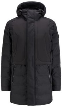 HUGO BOSS - Water Repellent Down Jacket With Detachable Embroidered Hood - Black