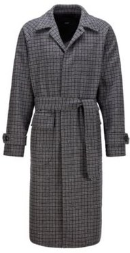 HUGO BOSS - Relaxed Fit Coat In A Checked Wool Blend - Light Grey