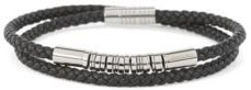 HUGO BOSS - Double Wrap Braided Leather Cuff With Brass Beads - Black