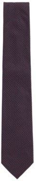 HUGO BOSS - Pure Silk Tie With Jacquard Woven Micro Pattern - Red