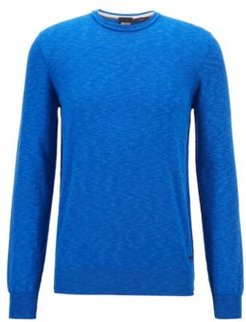 HUGO BOSS - Slim Fit Sweater In Melange Cotton With Rolled Collar - Light Blue