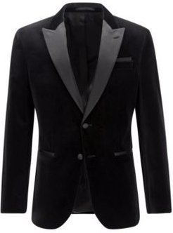 HUGO BOSS - Slim Fit Tuxedo Jacket In Velvet With Silk Trims - Black