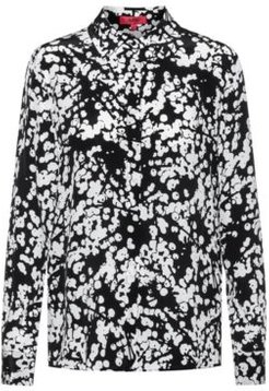 BOSS - Regular Fit Blouse In Silk With Cherry Blossom Print - Patterned