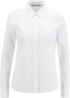 HUGO BOSS - Slim Fit Blouse In Stretch Fabric With Jersey Back - White