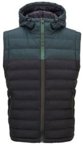 HUGO BOSS - Quilted Hooded Gilet With Water Repellent Finish - Black