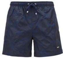 HUGO BOSS - Quick Dry Swim Shorts With Jacquard Woven Floral Pattern - Dark Blue
