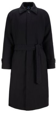 HUGO BOSS - Relaxed Fit Cotton Blend Coat With Rear Star Motif - Black