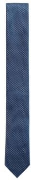 HUGO BOSS - Water Repellent Tie In Pure Silk With Micro Pattern - Dark Blue