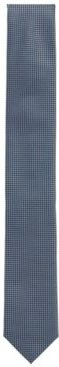 HUGO BOSS - Water Repellent Tie In Pure Silk With Micro Pattern - Light Blue