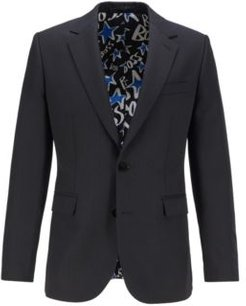 HUGO BOSS - Single Breasted Jacket With Star Motif And Feature Lining - Black