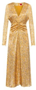 BOSS - V Neck Maxi Dress In Lightweight Fabric With Brushstroke Print - Patterned