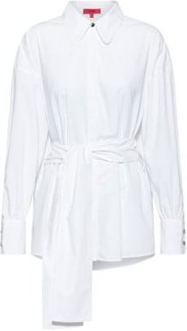 BOSS - Oversized Fit Blouse In Stretch Cotton With Logo Print - White