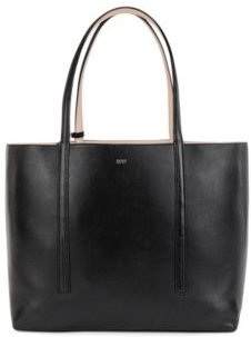 HUGO BOSS - Nappa Leather Reversible Shopper Bag With Branded Pouch - Black