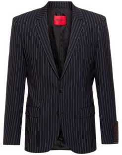 BOSS - Pinstripe Slim Fit Jacket In Super Flex Tropical Wool - Dark Blue