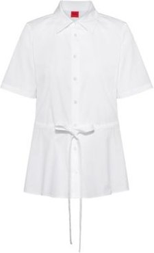 BOSS - Short Sleeved Blouse In Stretch Cotton With Adjustable Waist - White