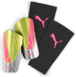 ftblNXT TEAM Shin Guards in Nrgy Peach/Fizzy Yellow, Size S