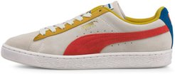 Suede Classic Sneakers in White/Super Lemon/Red, Size 10.5
