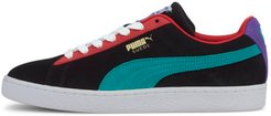 Suede Classic Sneakers in Black/Viridian Green/Red, Size 14