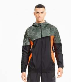 Run Men's Graphic Hooded Jacket in Black/Thyme, Size XL