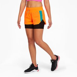 x FIRST MILE Xtreme Women's 2-in-1 Training Shorts in Ultra Orange/Black, Size L