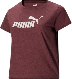 Essentials+ Women's Logo Heather T-Shirt PL in Burgundy, Size 2X