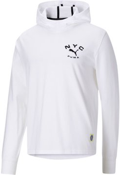 NYC Men's Long Sleeve Jersey Hoodie in White, Size S