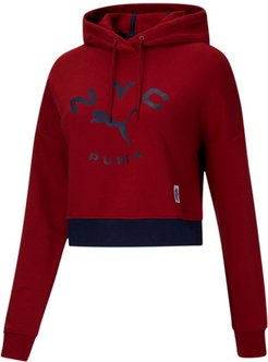 NYC Women's Contrast Hoodie in Red Dahlia, Size XL