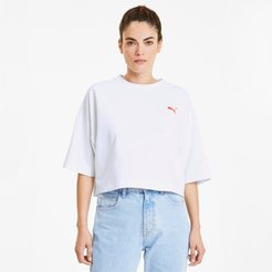 Evide Formstrip Women's Cropped T-Shirt in White, Size XL