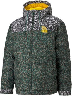 x MR DOODLE Men's Puffer Jacket in Covert Green/Aop, Size XL