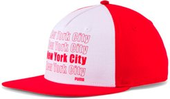 Thank You Flat Brim Snapback Hat in Red/White