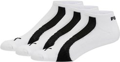 No Show Bamboo Socks 3 Pack in White/Black, Size 10-13