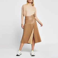 Beige faux leather pleated midi skirt