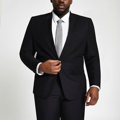 Mens Big and Tall black skinny fit suit jacket