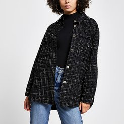 Black boucle long sleeve shacket