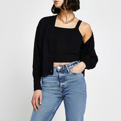 Black ribbed cami and cardigan set