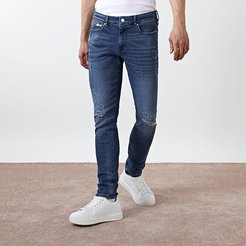 Mens Blue Sid skinny ripped jeans