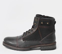 Mens Brown leather lace up boots
